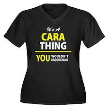 Cool Cara Women's Plus Size V-Neck Dark T-Shirt