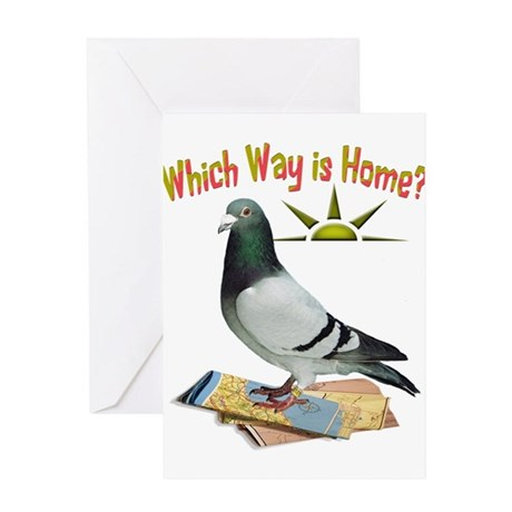 Which way is home fun lost pigeon art greeting ca by for Which way to home