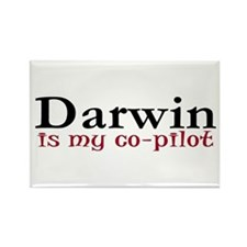 Darwin is my co-pilot Rectangle Magnet