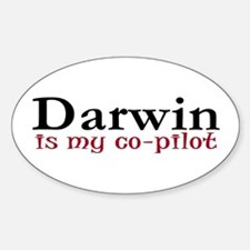 Darwin is my co-pilot Oval Decal