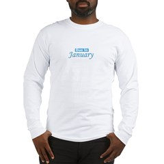 Due In January - Blue Long Sleeve T-Shirt