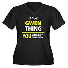 Unique Gwen Women's Plus Size V-Neck Dark T-Shirt