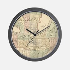 Vintage Map of Nashville Tennessee (187 Wall Clock