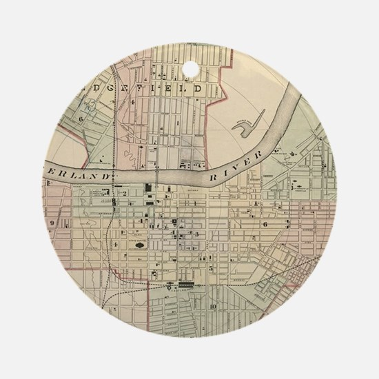 Vintage Map of Nashville Tennessee Round Ornament
