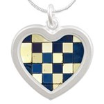 Cracked Tiles - Blue Silver Heart Necklace