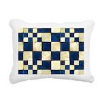 Cracked Tiles - Blue Rectangular Canvas Pillow