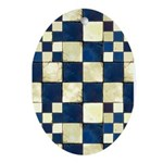 Cracked Tiles - Blue Ornament (Oval)