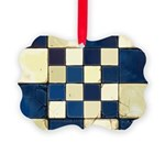 Cracked Tiles - Blue Picture Ornament