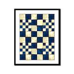 Cracked Tiles - Blue Framed Panel Print