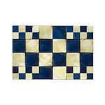 Cracked Tiles - Blue Rectangle Magnet