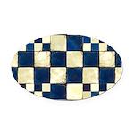 Cracked Tiles - Blue Oval Car Magnet