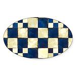 Cracked Tiles - Blue Sticker (Oval 50 pk)