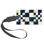 Cracked Tiles - Blue Large Luggage Tag