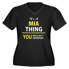 Cute Mia Women's Plus Size V-Neck Dark T-Shirt