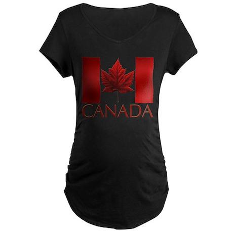 Canada Souvenir Maternity Dark T-Shirt Maple Leaf