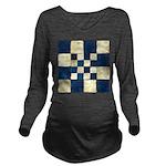 Cracked Tiles - Blue Long Sleeve Maternity T-Shirt