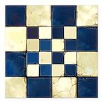 Cracked Tiles - Blue Square Car Magnet 3