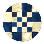 Cracked Tiles - Blue Round Car Magnet