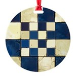 Cracked Tiles - Blue Round Ornament