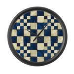 Cracked Tiles - Blue Large Wall Clock