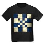 Cracked Tiles - Blue Kids Dark T-Shirt