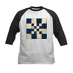 Cracked Tiles - Blue Kids Baseball Jersey