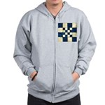 Cracked Tiles - Blue Zip Hoodie