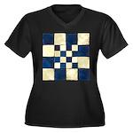 Cracked Tile Women's Plus Size V-Neck Dark T-Shirt