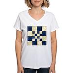 Cracked Tiles - Blue Women's V-Neck T-Shirt