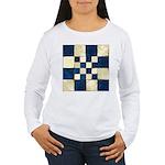 Cracked Tiles - Blue Women's Long Sleeve T-Shirt