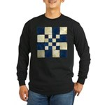 Cracked Tiles - Blue Long Sleeve Dark T-Shirt
