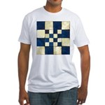 Cracked Tiles - Blue Fitted T-Shirt