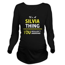 Cute Silvia Long Sleeve Maternity T-Shirt