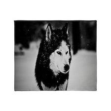 Winter Wolf Throw Blanket