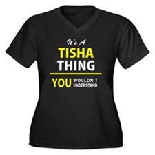 Unique Tisha Women's Plus Size V-Neck Dark T-Shirt