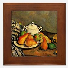 Cezanne - Sugarbowl, Pears and Tablecl Framed Tile