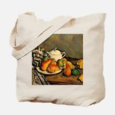Cezanne - Sugarbowl, Pears and Tablecloth Tote Bag