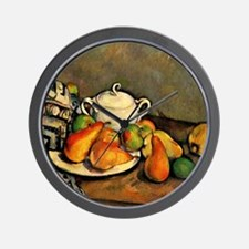 Cezanne - Sugarbowl, Pears and Tableclo Wall Clock