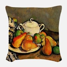 Cezanne - Sugarbowl, Pears and Woven Throw Pillow