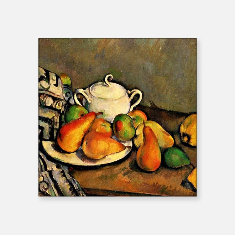 "Cezanne - Sugarbowl, Pears  Square Sticker 3"" x 3"""