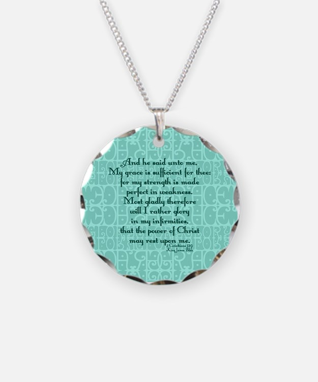 2 Corinthians 12:9 green Necklace
