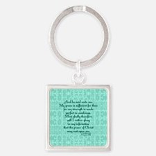 2 Corinthians 12:9 green Square Keychain