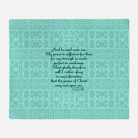 2 Corinthians 12:9 green Throw Blanket