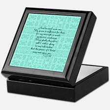 2 Corinthians 12:9 green Keepsake Box