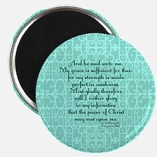 2 Corinthians 12:9 green Magnet