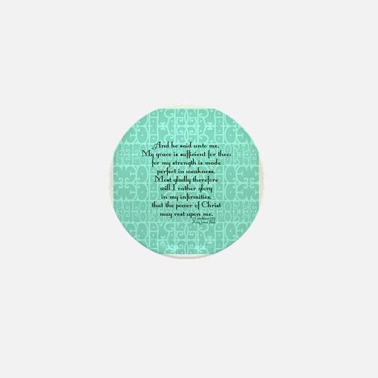 2 Corinthians 12:9 green Mini Button