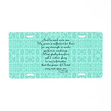2 Corinthians 12:9 green Aluminum License Plate