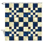 Cracked Tiles - Blue Shower Curtain