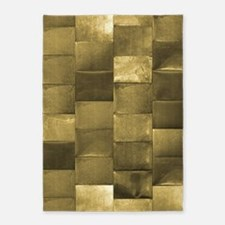Shiny Gold Square Tiles 5'x7'Area Rug