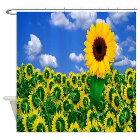 sunflower field shower curtain by coolbedding. Black Bedroom Furniture Sets. Home Design Ideas